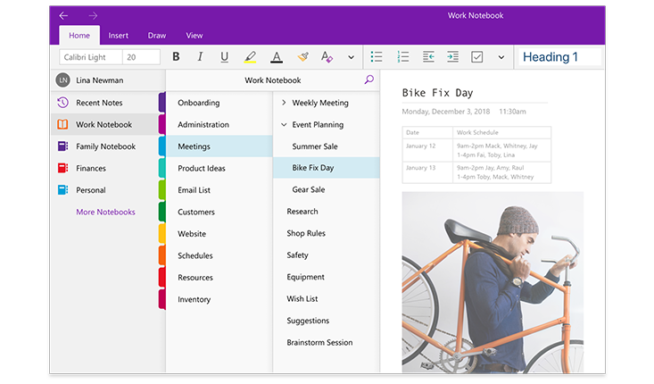 An image of the OneNote navigation panes, showing a list of notebooks and the list of sections and pages within a notebook titled Work Notebook.