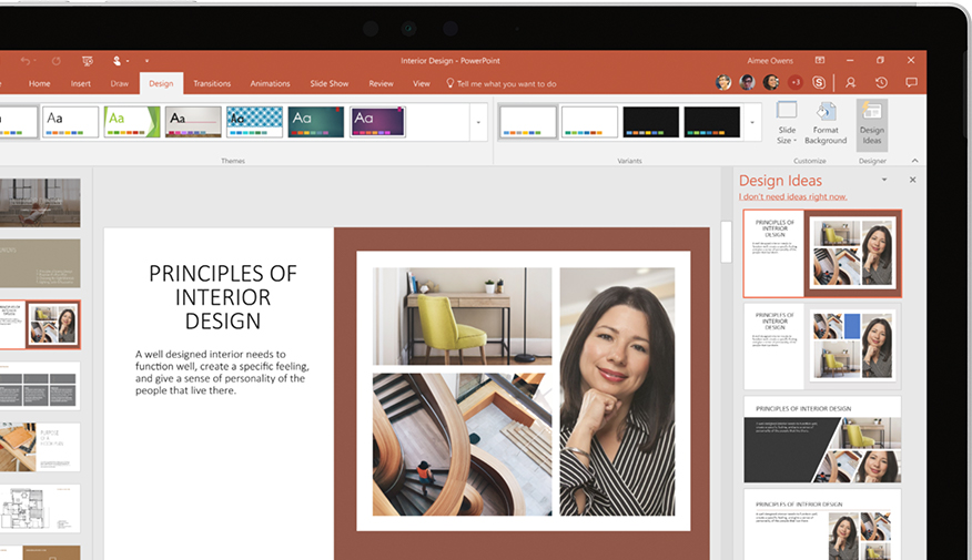 PowerPoint presentation showing in device