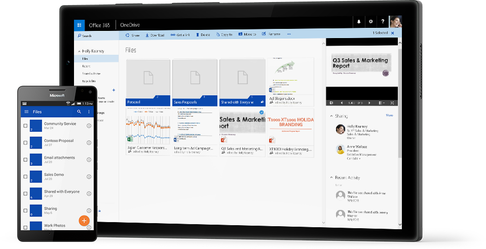 A tablet and a smartphone showing a close-up of files and folders, powered by OneDrive for Business.