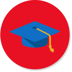 School icon with graduation cap