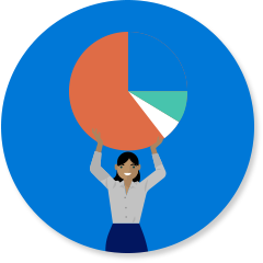 Work icon with woman and pie chart