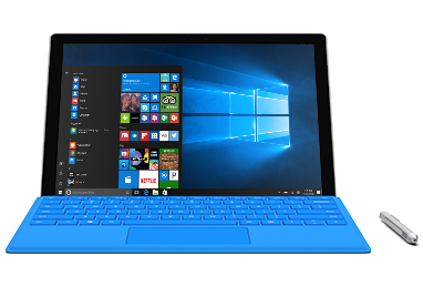 Surface Pro 4 with a Windows start screen