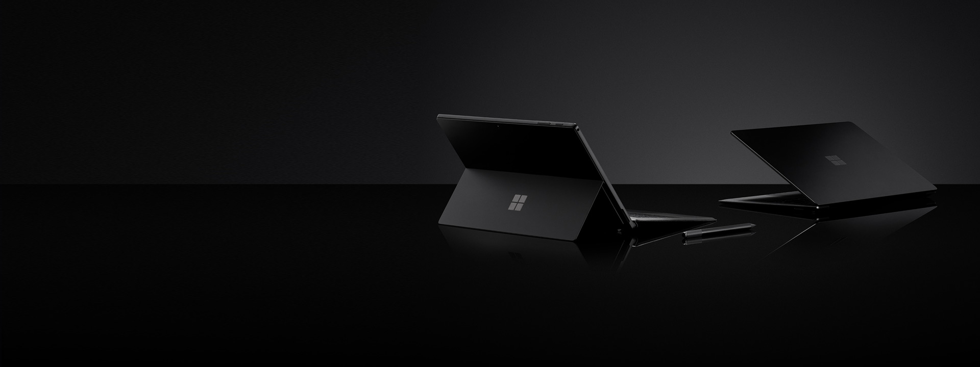 Black Surface Pro 6, Black Surface Laptop 2 and Black Surface Pen
