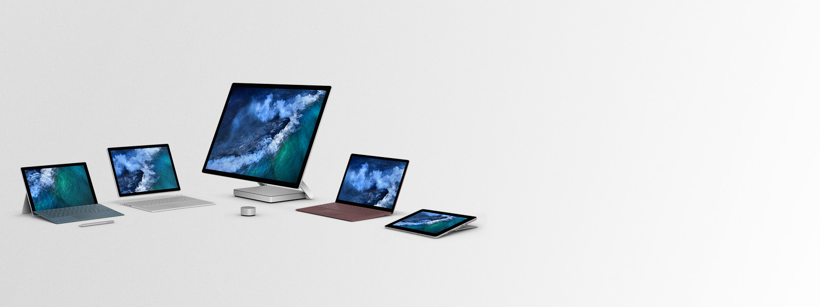 Surface Family - Surface Pro and Surface pen, Surface Book 2, Surface Studio and Dial, Surface Laptop, Surface Go