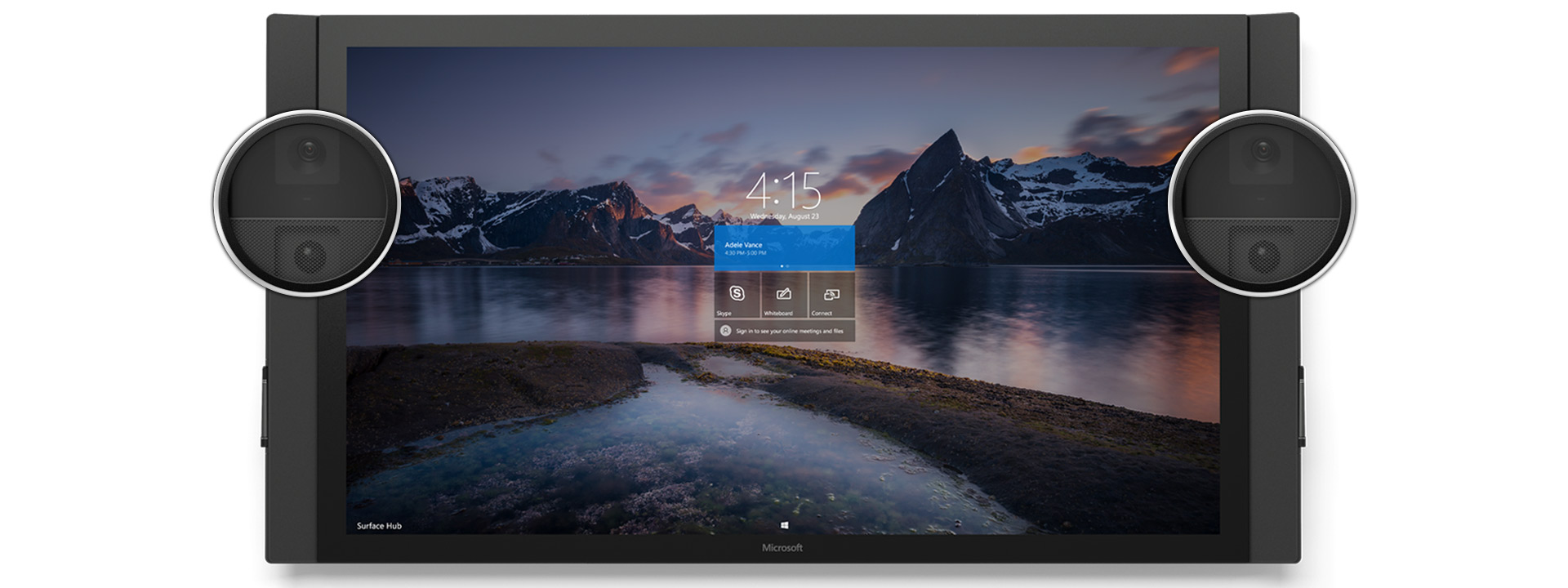 Front view of Surface Hub with nature setting start screen, with the cameras and sensors enlarged.