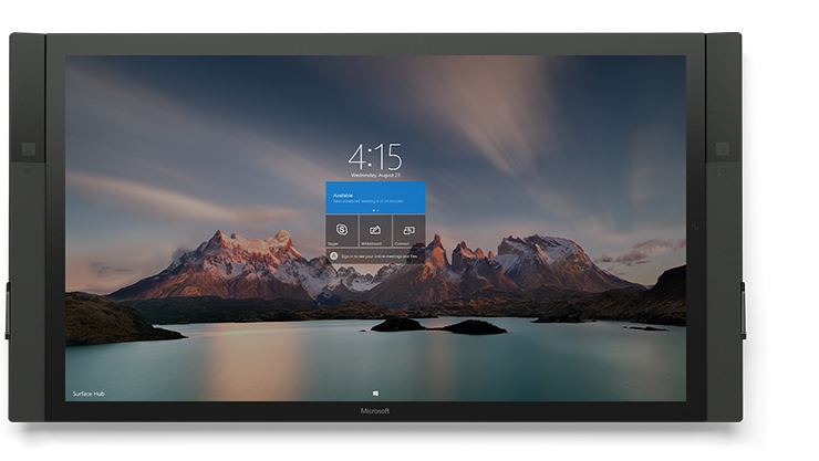 "Front view of 84"" Surface Hub with nature setting start screen."