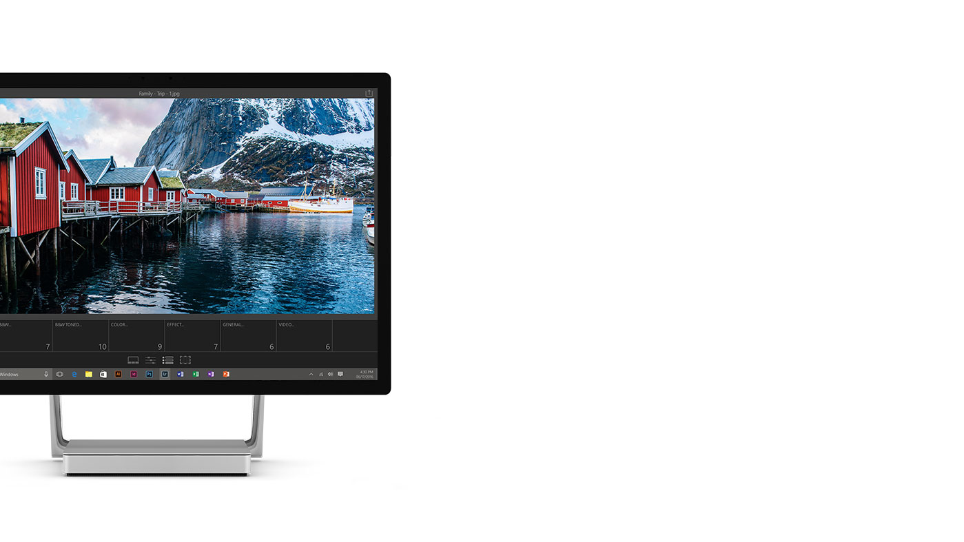 A beautiful photo of an outdoor scene on a Surface Studio.