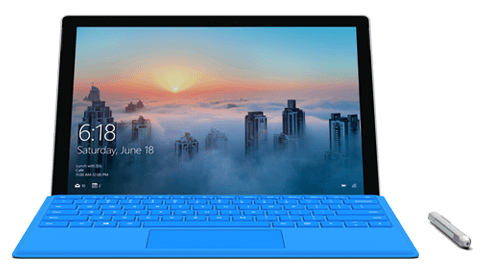 Surface Pro 4 facing forwards