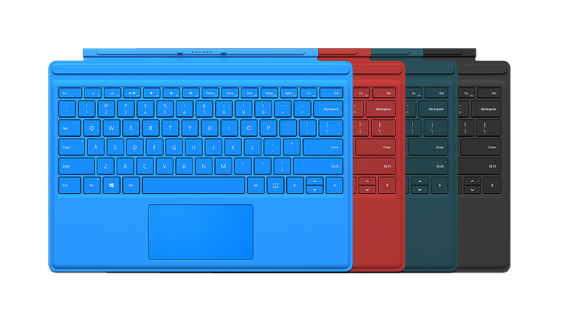 Four Surface Pro 4 keyboards showing colour options