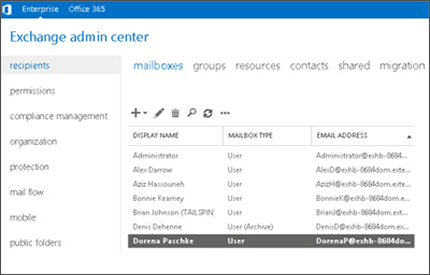 Close-up of a page in the Exchange admin center, where you manage your email system.