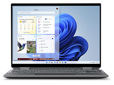 A laptop screen displaying the Widget panel with Weather, To Do, Calendar, and Photo widgets floating on the left side