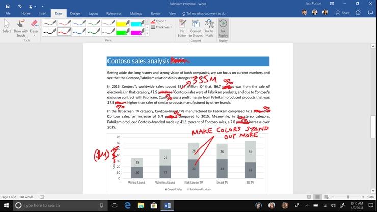Handwritten edits shown on a Word document