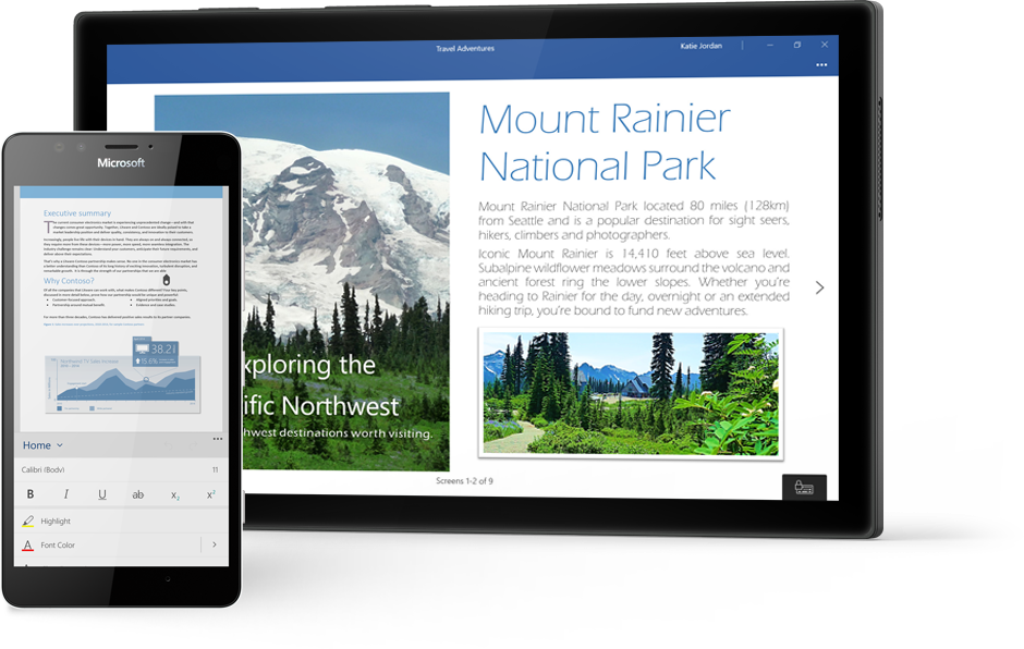 Windows tablet displaying a Word document about Mount Rainier National Park in Word, and a phone displaying a doc in the Word mobile app