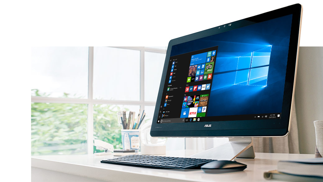 A Windows All-in-one with a Windows start screen on it