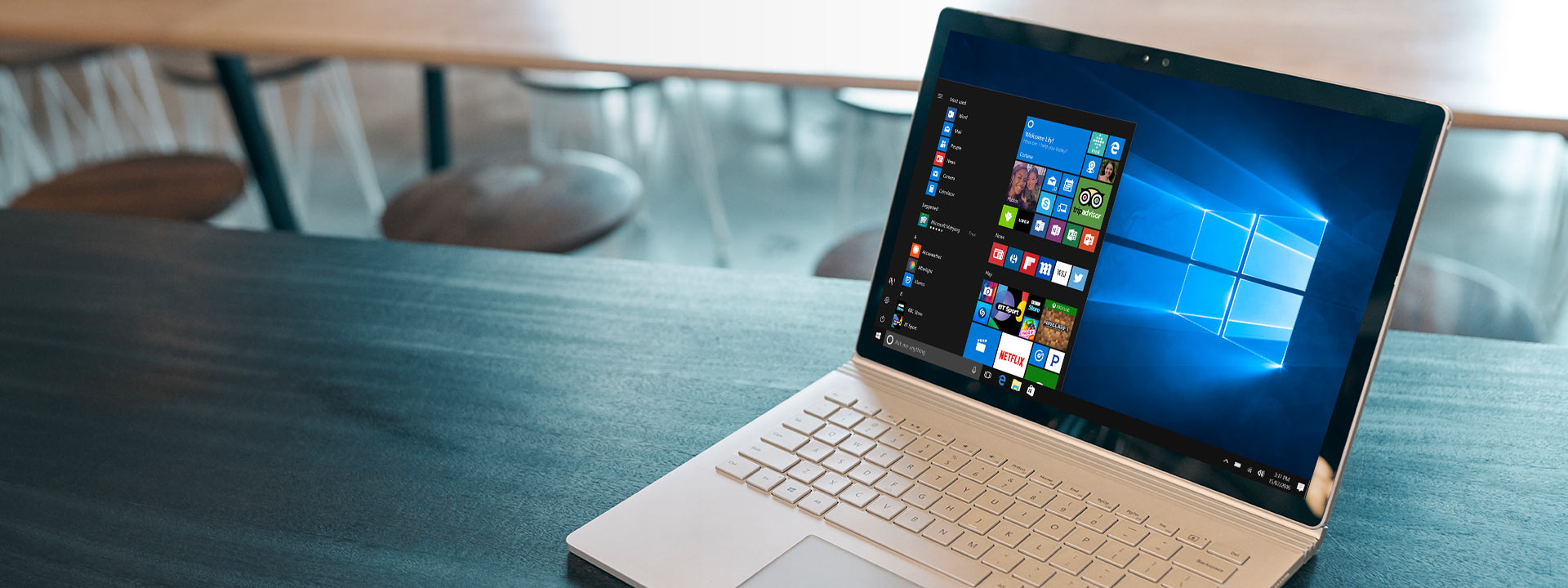 A Windows 10 PC with start menu