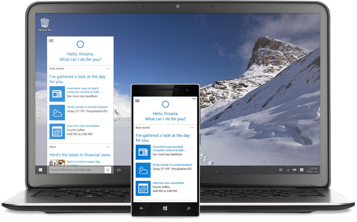 Laptop and Windows phone with Cortana on the screens