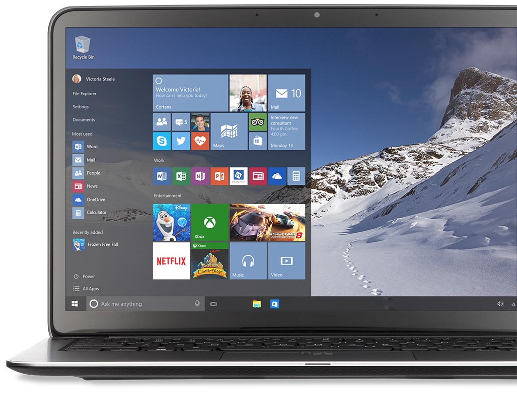 Laptop with Windows 10 Start Menu
