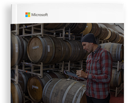 Microsoft 365 Business e-book cover showing a small business owner at work..