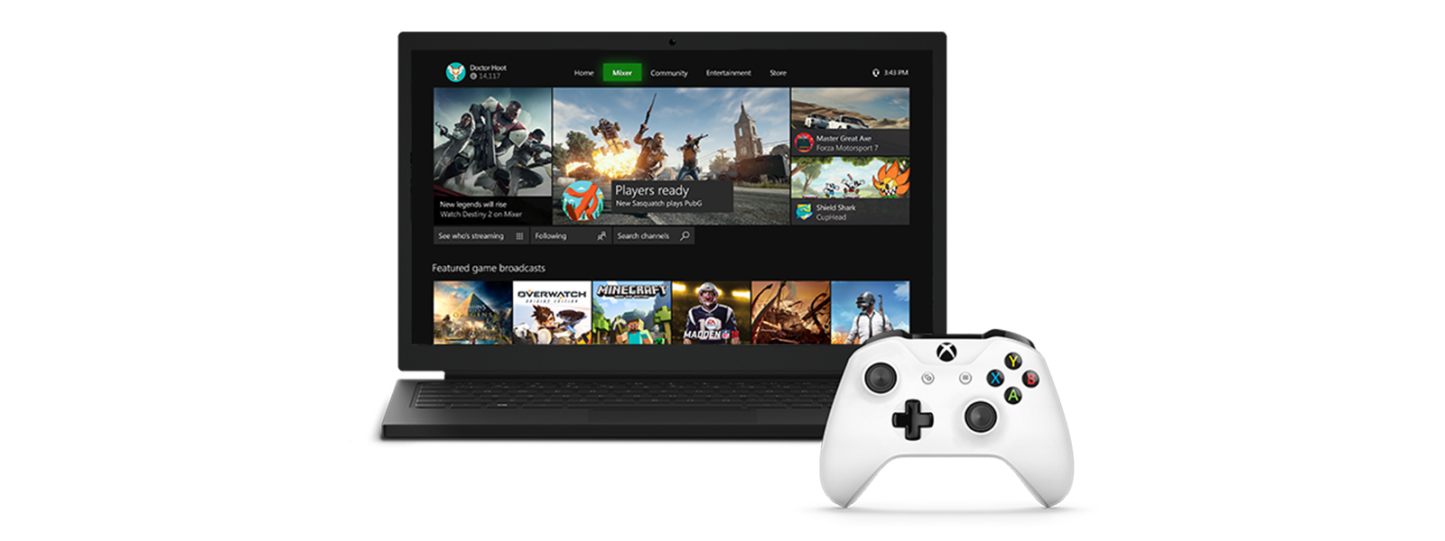 New Mixer interface for Windows 10 gaming