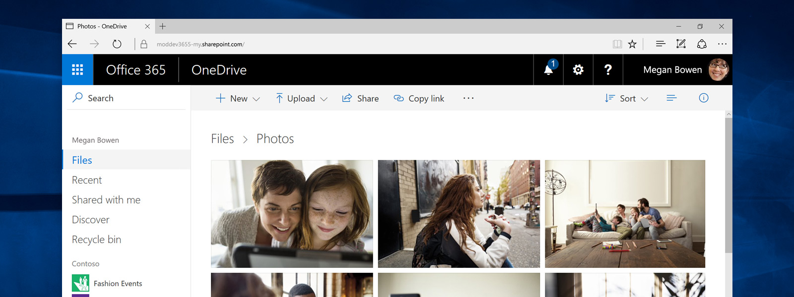 A Microsoft Edge browser with OneDrive open showing photos that are stored