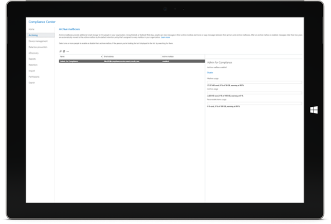 A tablet displaying Office 365 Archiving features in the Compliance Center
