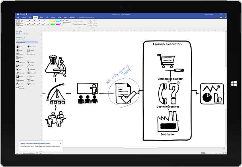 A Surface tablet displaying a process diagram that is drawn on the screen using a pen in Visio