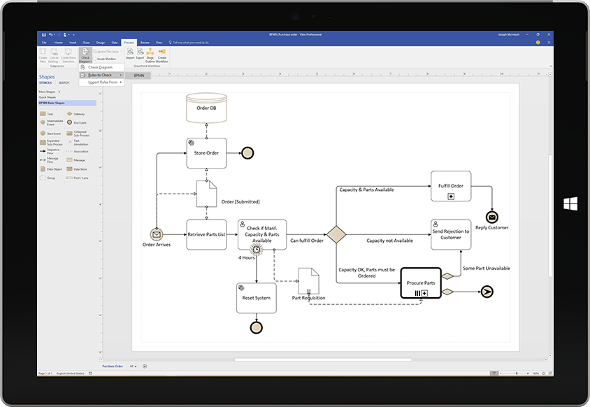 A Microsoft Surface tablet displaying a process flowchart diagram in Visio