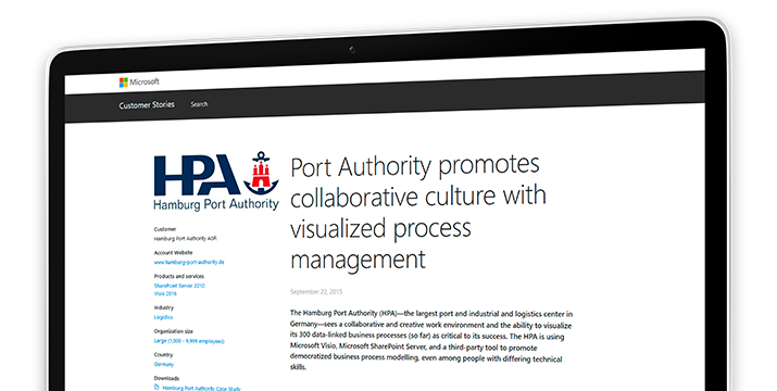 A computer screen displaying a case study about how the Hamburg Port Authority promotes collaborative culture with visualized process management