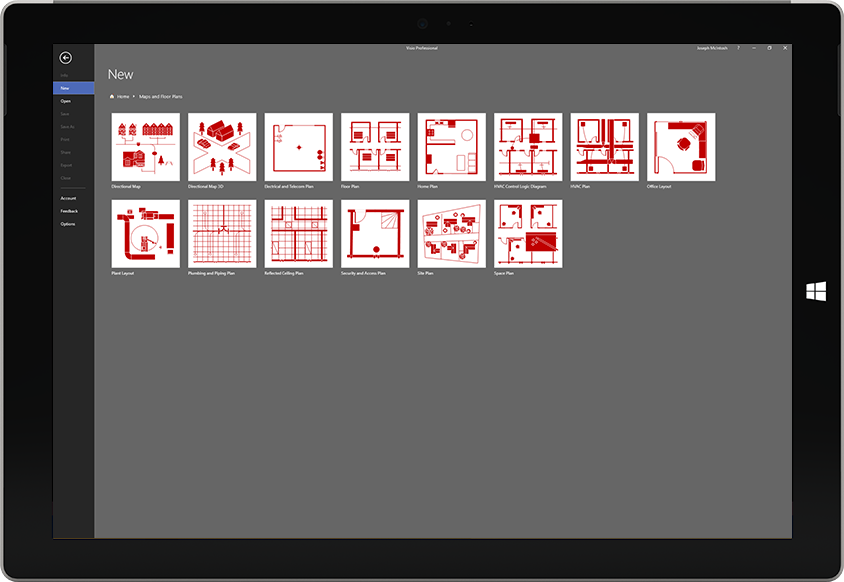 A Microsoft Surface tablet displaying a list of available floorplan templates in Visio
