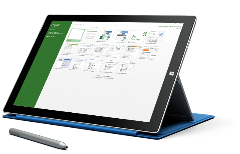 Microsoft Surface tablet displaying the New Project screen in Microsoft Project.