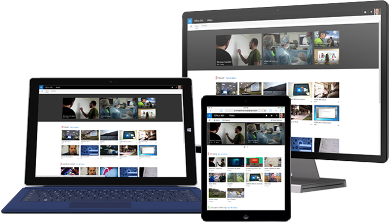 A tablet, desktop PC, and smartphone showing Microsoft Office 365 video