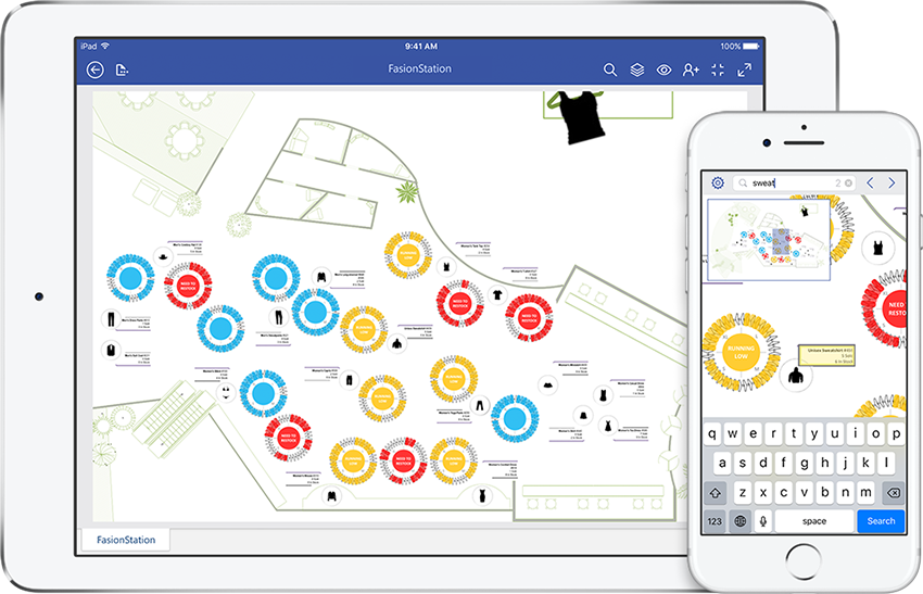 An iPad and iPhone displaying a maintenance manual diagram in Visio