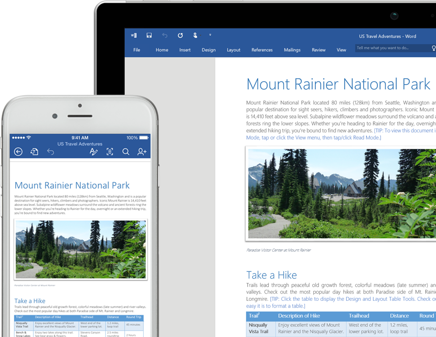 A mobile phone and a laptop screen showing a Word document about Mount Rainier National Park