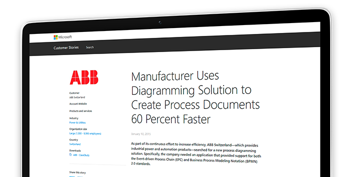 A computer screen displaying a case study about how the manufacturer ABB uses a diagramming solution to create process documents 60 percent faster