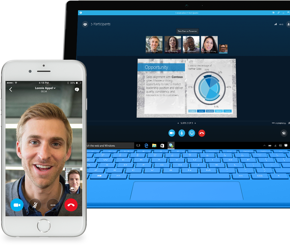 Phone showing Skype for Business call screen and laptop showing Skype for Business call with team members sharing a PowerPoint presentation