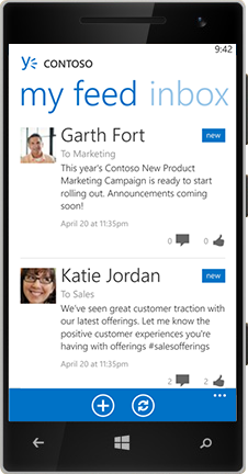 A Windows Phone displaying the Feed in Yammer