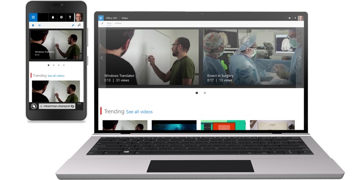 A phone showing a video and a tablet showing a video gallery in Office 365 Video.