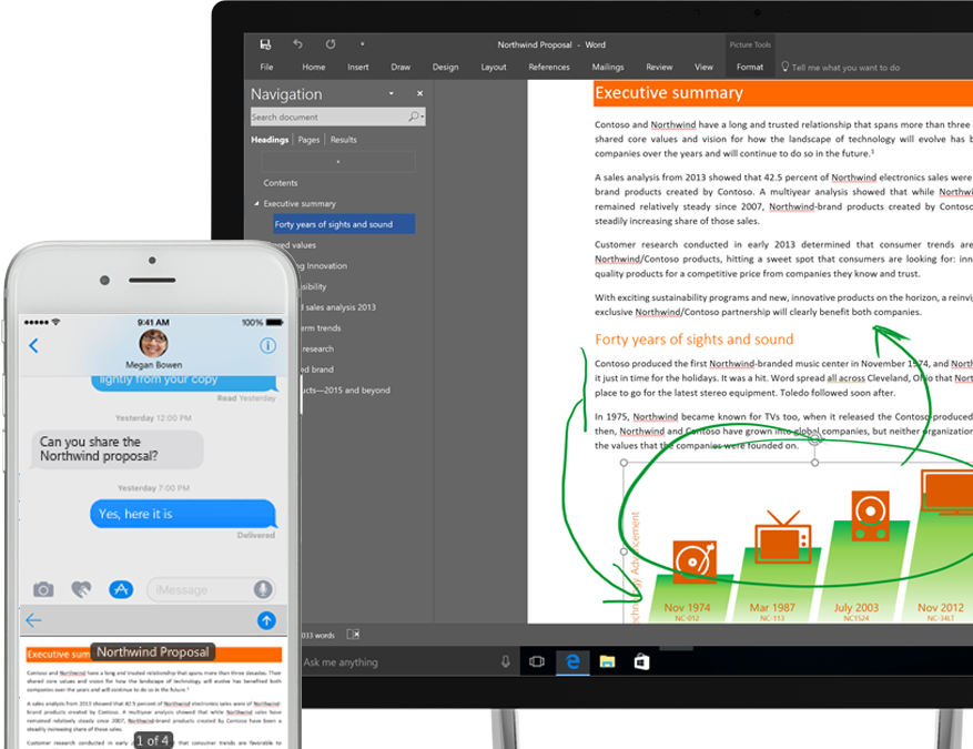 files displayed in OneDrive on a smartphone and a tablet computer