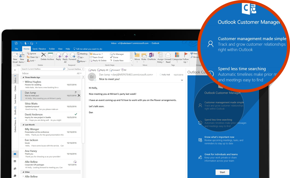 Computer screen displaying a zoomed-in section of Outlook Customer manager in Outlook