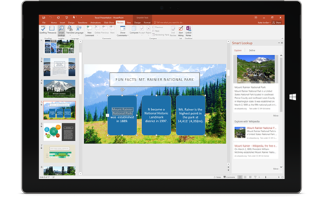 Works for you: A tablet showing a PowerPoint presentation with the Smart Lookup pane on right.