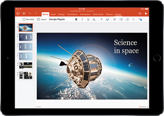 A tablet displaying a presentation about Science in space, learn about apps and features that help you do more in Office