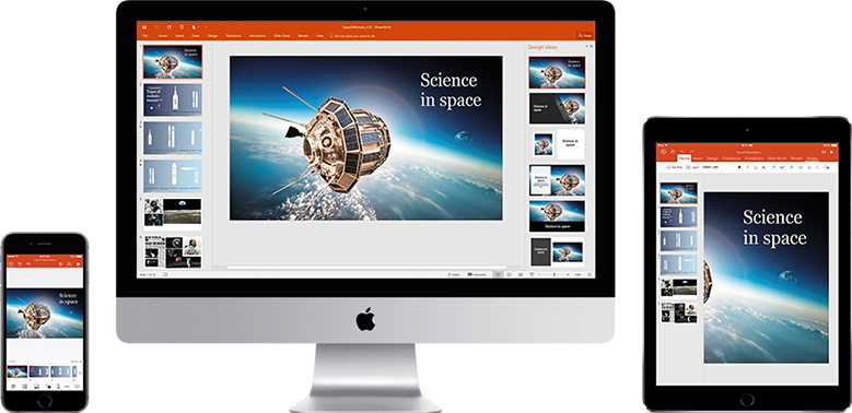 An iPhone, Mac monitor, and iPad displaying a presentation about Science in space, learn about mobility features in Office