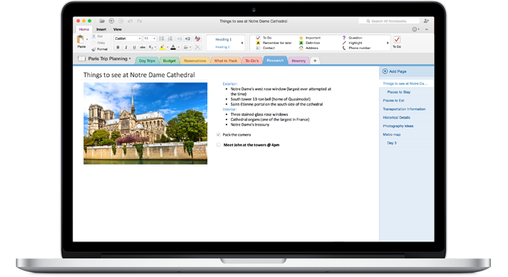 A MacBook showing a notebook open in the new OneNote for Mac.