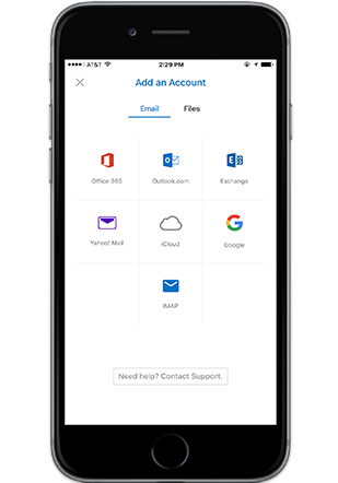 A smartphone displaying the Add an Account screen in Outlook mobile