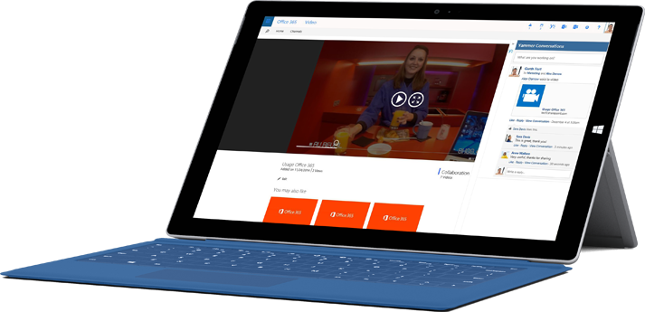 A tablet showing the Office 365 Video page where you upload videos.