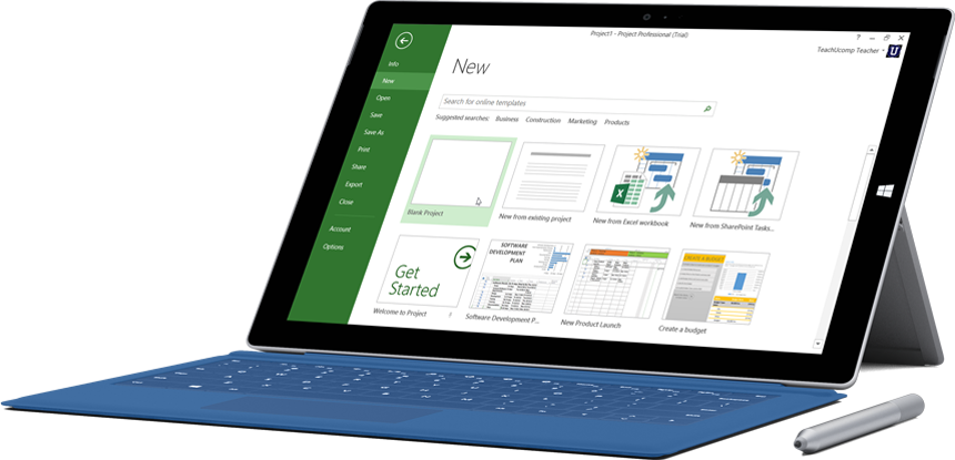 Microsoft Surface tablet showing the New Project window in Project Pro for Office 365.