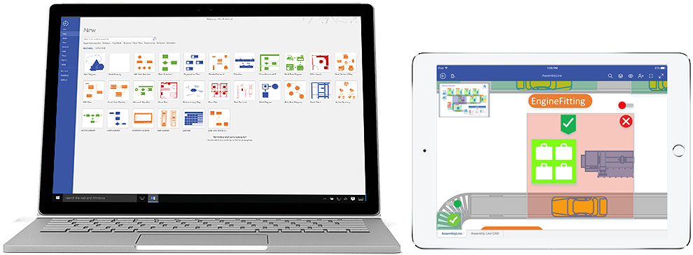 Visio Pro for Office 365 diagrams shown on Surface and iPad.