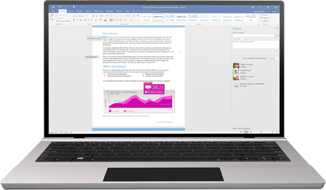Working together just got easier: A laptop with a Word document on screen showing coauthoring in progress.