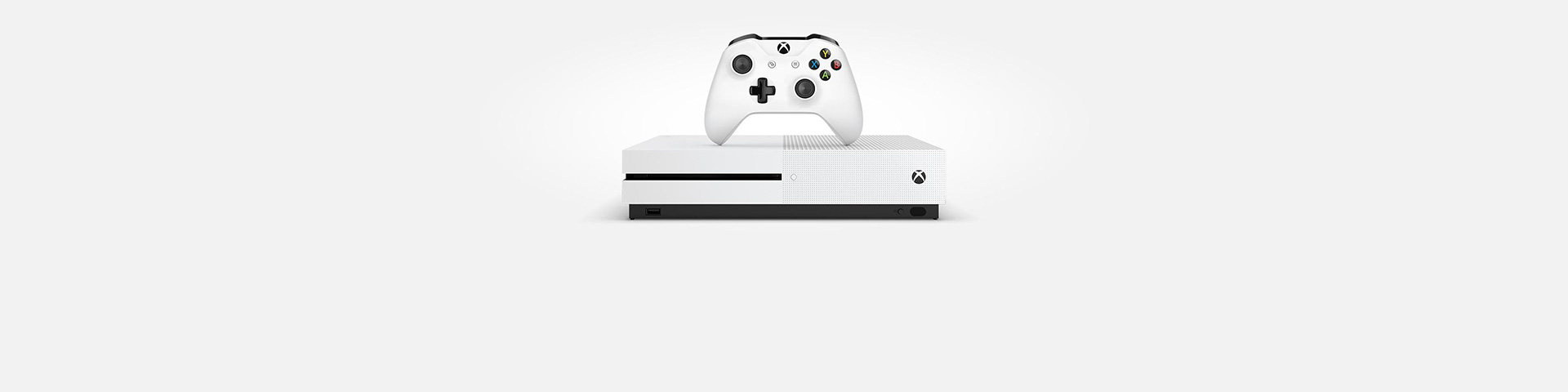 An Xbox One S console and controller