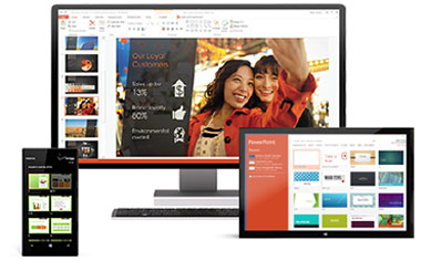 A smartphone, a desktop monitor, and a tablet—Office 365 goes with you.